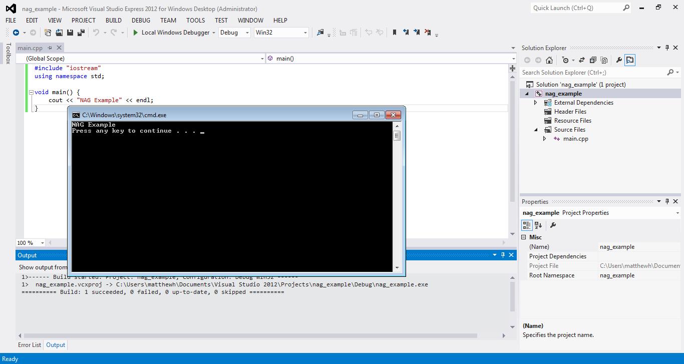 NAG C Library with Visual Studio 2012 www nag co uk